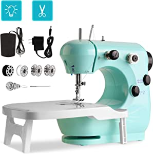 Portable Sewing Machine WADEO Mini Sewing Machine for Beginners, with Extension Table, Foot Pedal, 2-Speed Double Thread for Household Beginners, Both Adults and Kids Learner