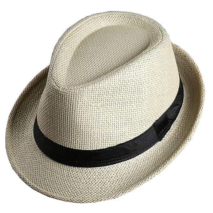 Sombrero De Paja Elegante para Hombre con Sombrero De Paja Fácil Unisex De Color  Negro para 0e2d7df62c2