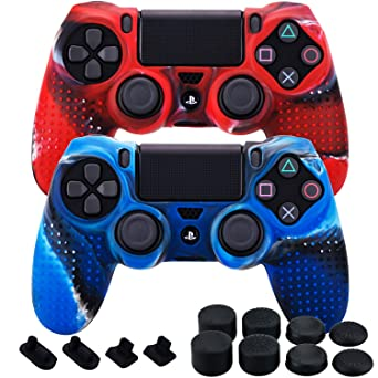 Mxrc Silicone Rubber Cover Skin Case X 2 Anti Slip Studded Dots Customize For Ps4 Slim Pro Controller X 1 Camouflage Red Blue Fps Pro Stick Cover Thumb Grips X 8 Dustproof