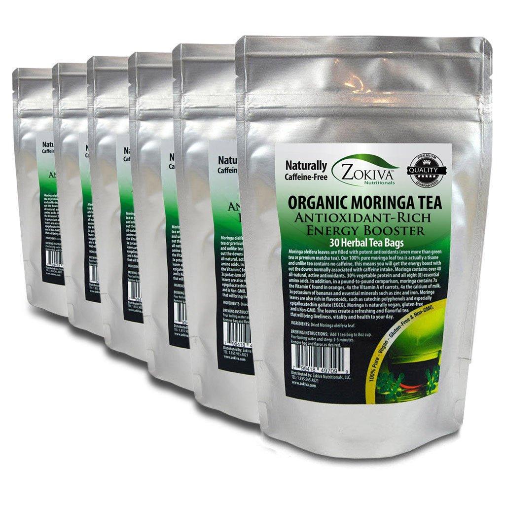 Moringa Tea Organic 6-Pack 180 Bags 100% Pure, All-natural, Antioxidant-rich Energy Booster