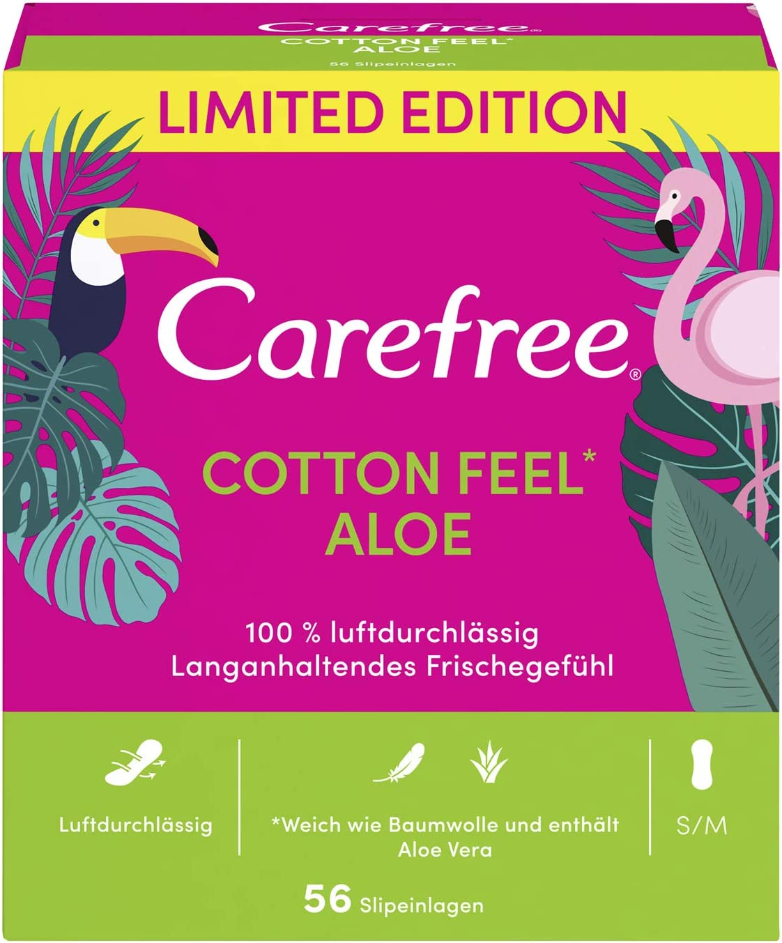 Carefree Cotton Aloe - Protegeslips (transpirable, con algodón y ...