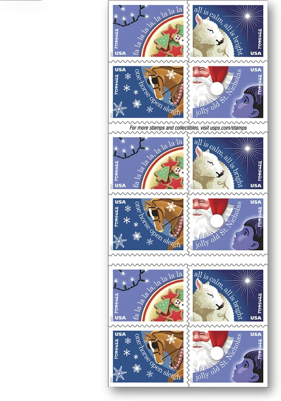 Christmas Carols Usps Forever Stamps Book Of 20 New 2017 Release