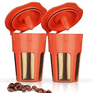 BRBHOM 2 Pack 24K Gold Reusable 2.0 K-Carafe Refillable K Pods Reusable Carafe Filter for Keurig Series 2.0 K250 K300, K400, K500 Series