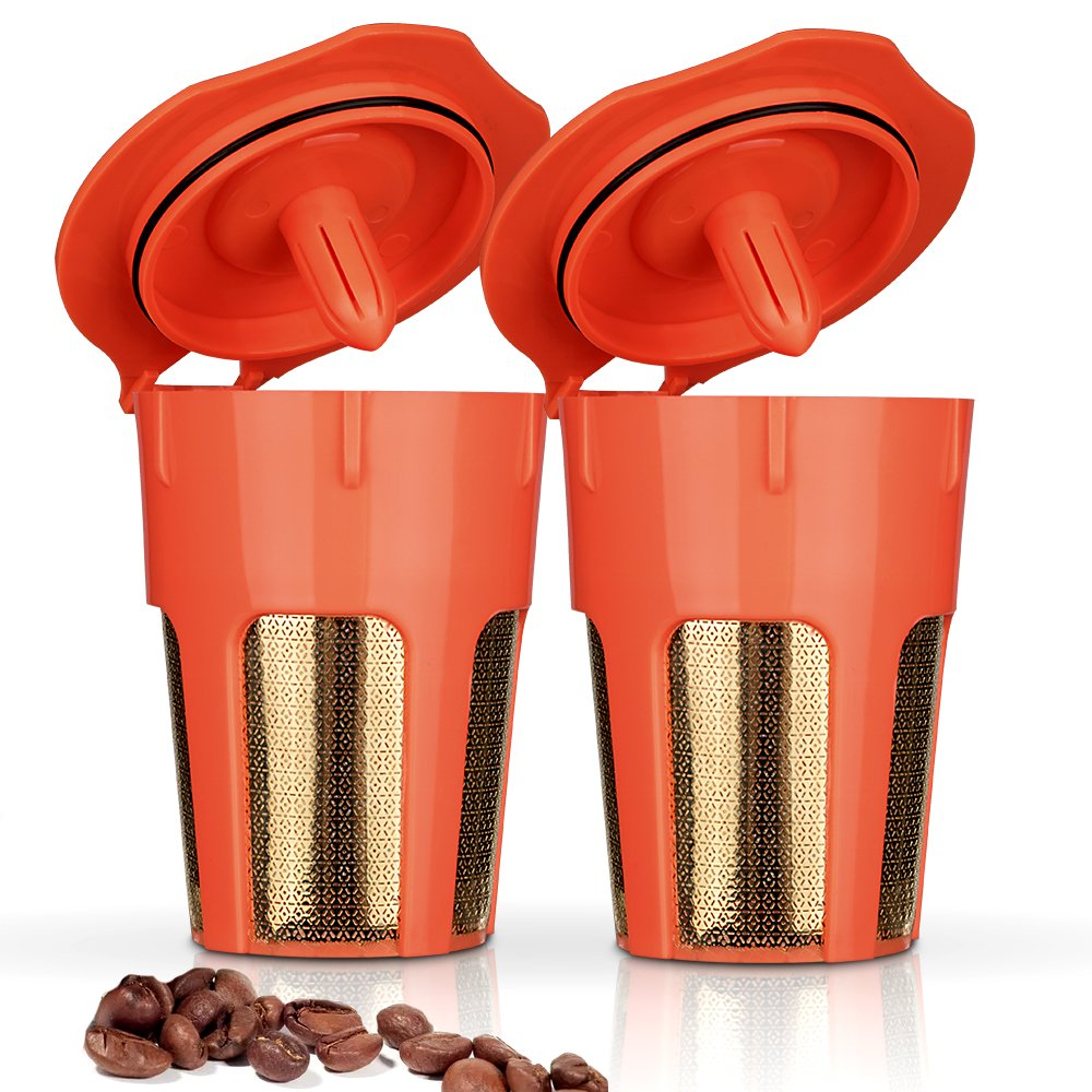 BRBHOM 2 Pack 24K Gold Reusable 2.0 K-Carafe Refillable K cup Reusable Coffee Filters for K Series 2.0 K200 K300, K400, K500 Series