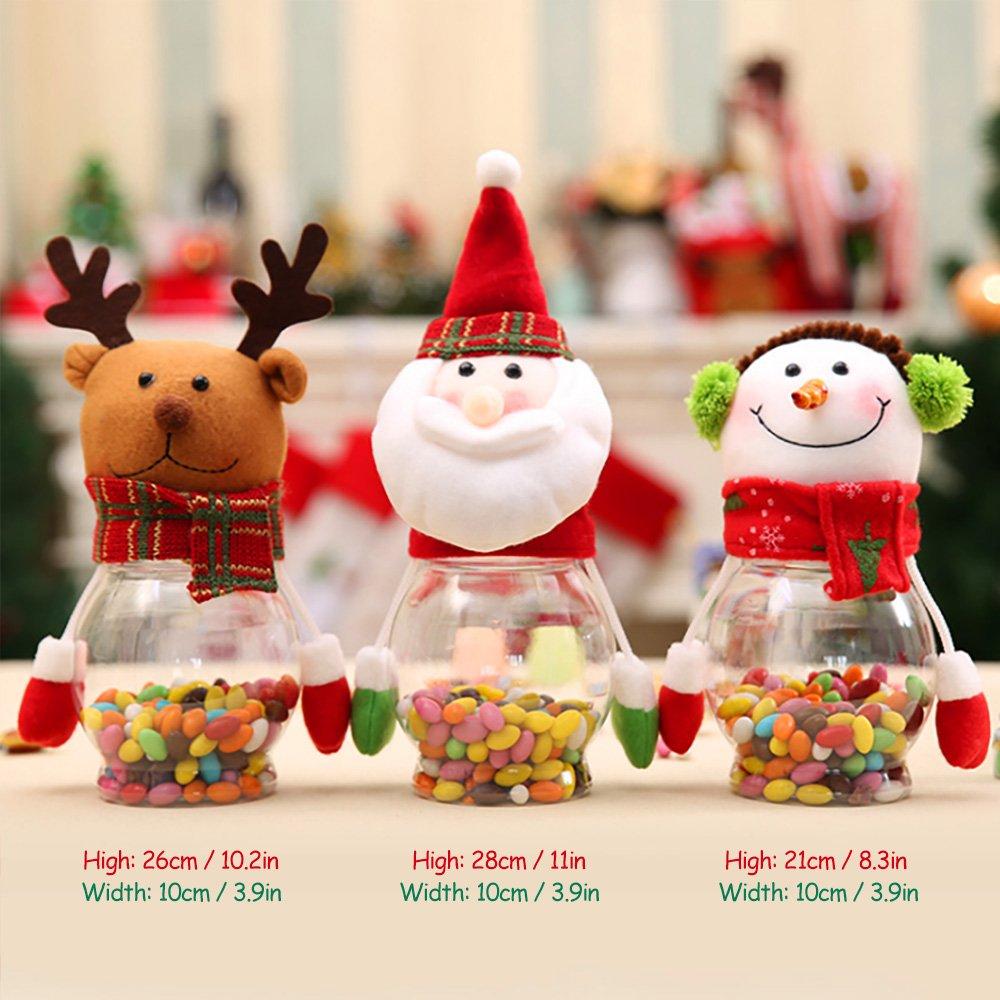 BAINASIQI Niños Papá Noel Muñeco de Nieve Navidad Alce Candy Tarro de Dulces Plástico Decoración 3 Piezas: Amazon.es: Hogar