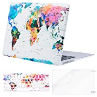 Mosiso Plastic Pattern Hard Case & Keyboard Cover & Screen Protector for MacBook Air 13 Inch (Models: A1369 & A1466, Older Version Release 2010-2017), World Map
