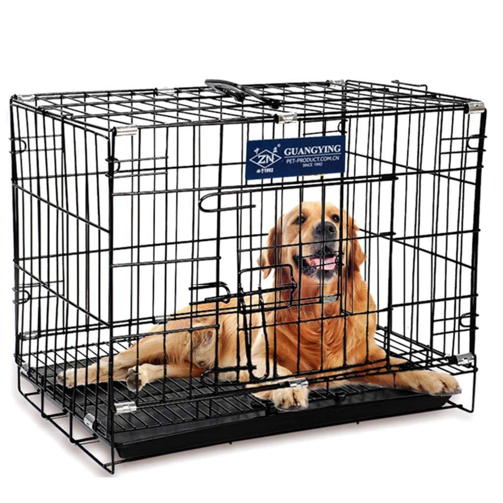 Black 76.54757cm Black 76.54757cm Playpens & Pens Pet cage cat dog cage rabbit cage golden Retriever dog folding steel small and medium dog with toilet dog cage Pet Supplies (color   Black, Size   76.5  47  57cm)