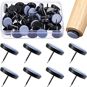 50 Pieces Furniture Glides Sliders Chair Glides Nail on Furniture Sliders Moving Pads Round Furniture Movers for Carpet, Tiled and Hardwood Floors
