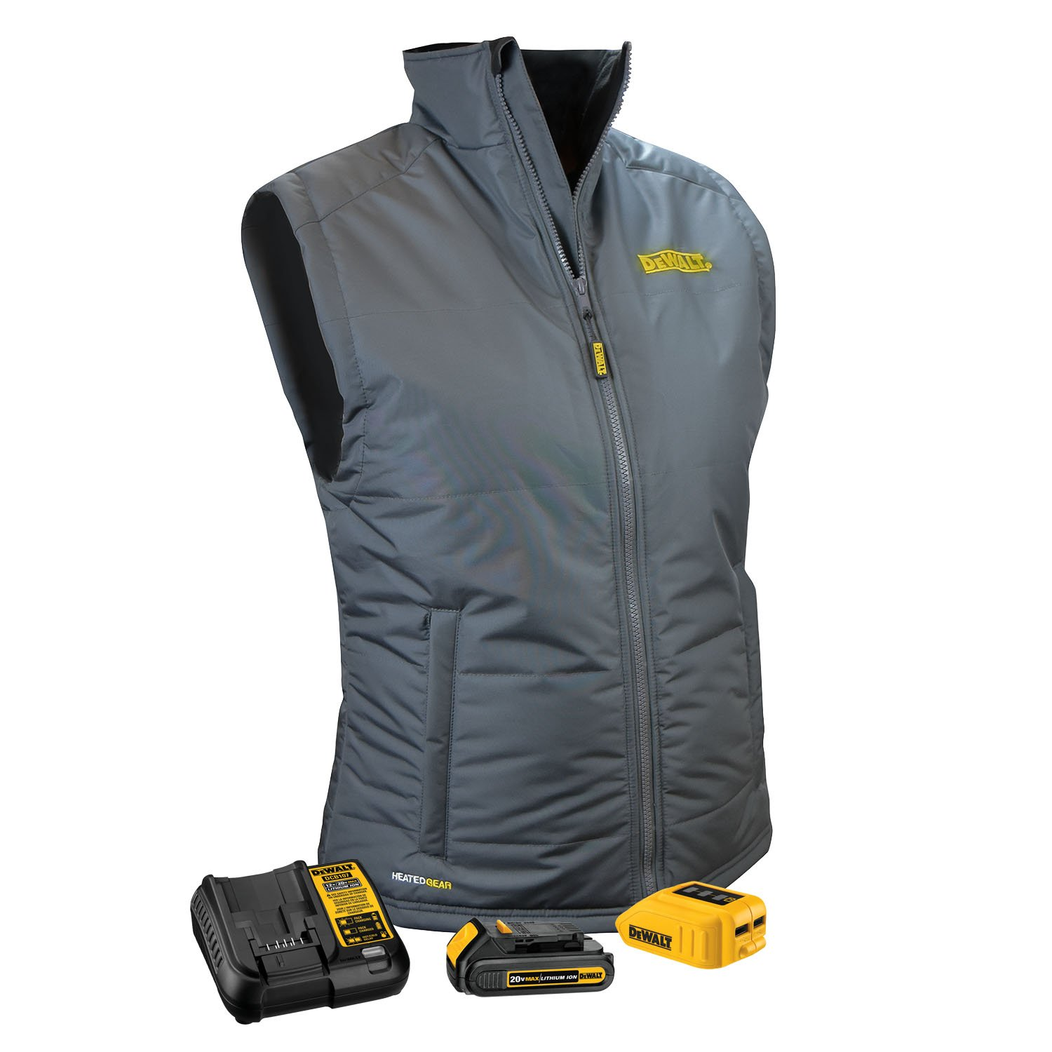 DEWALT DCHVL10C1-M Women's Heated Quilted Vest , Gray, Medium