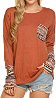 POGTMM Women's Long Sleeve O-Neck Patchwork Casual Loose T-Shirts Blouse Tunic Tops with Thumb Holes