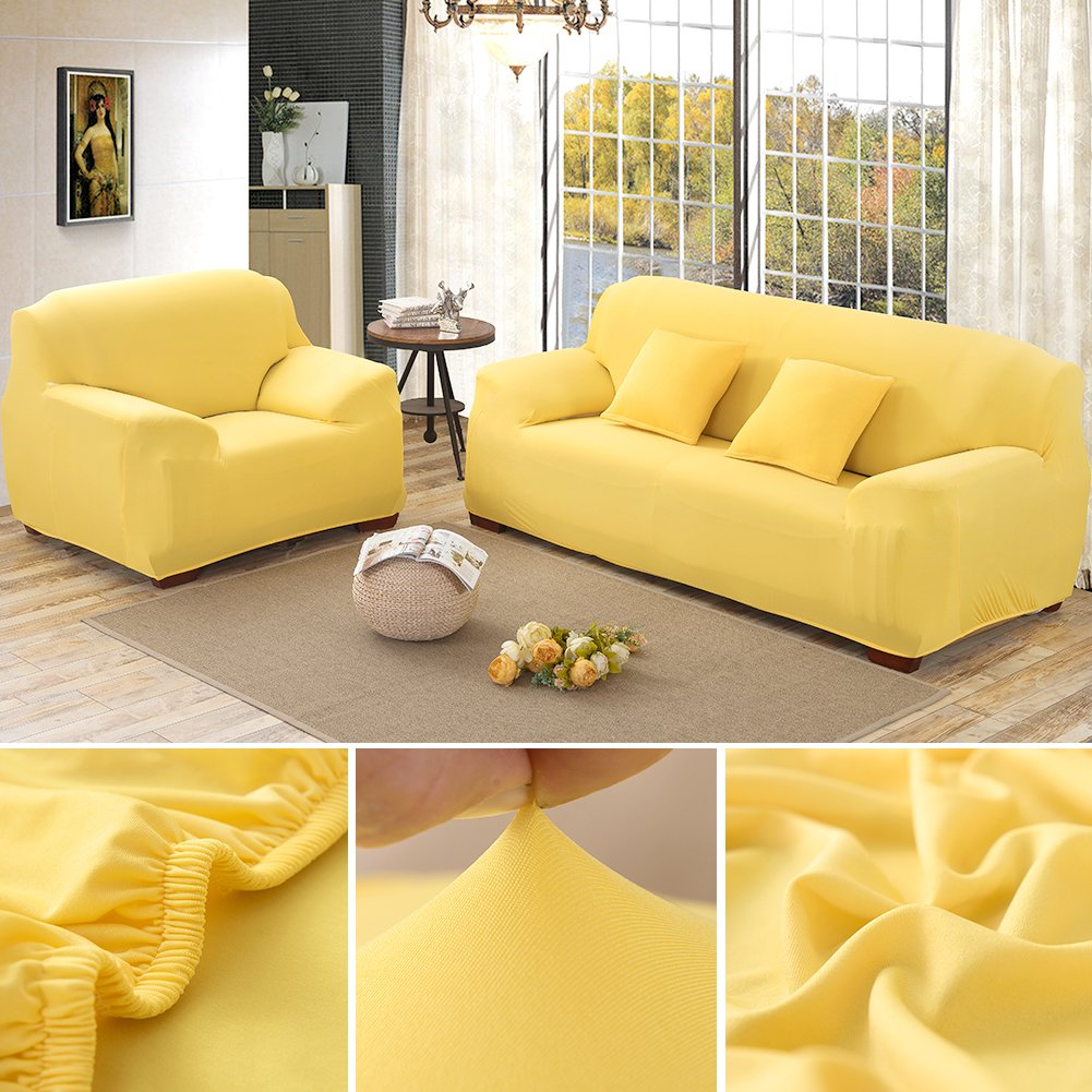 Hotniu Stretch Sofa Slipcover 1 Piece Polyester Spandex Fabric Couch Cover Fitted Furniture Slipcovers Loveseat Sofas (Loveseat, Yellow)