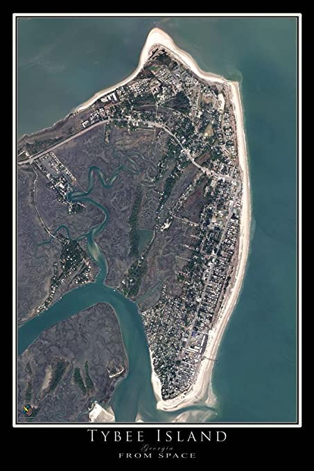 Satellite Map Of Georgia.Amazon Com Terra Prints Tybee Island Georgia Satellite Poster Map L