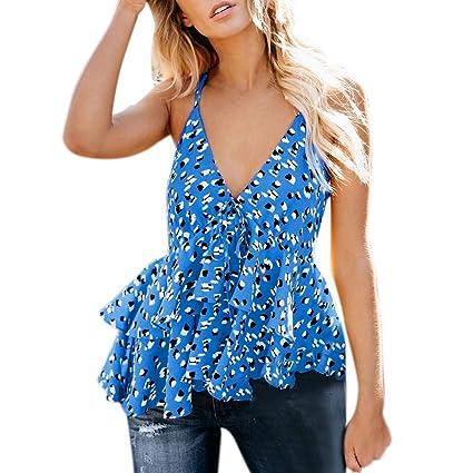 3c6b7f2480d5e Amazon.com - Womens Leopard V-Neck Sleeveless Bandage Ruffles Shirt Blouse  Casual Tank Tops (Blue