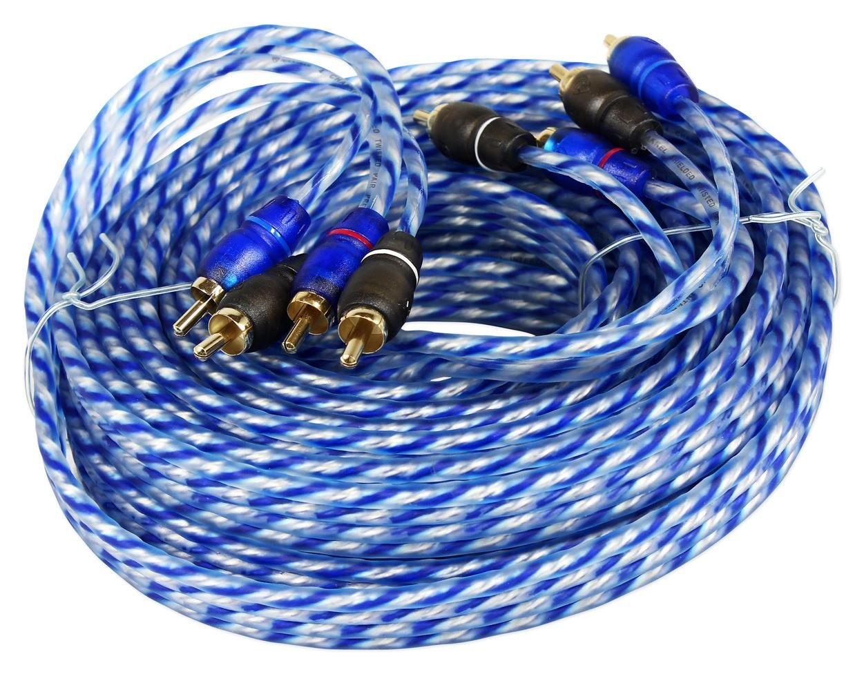 Rockville RTR204 20 Foot 4 Channel Twisted Pair RCA Cable Split Pin, 100% Copper Audiosavings