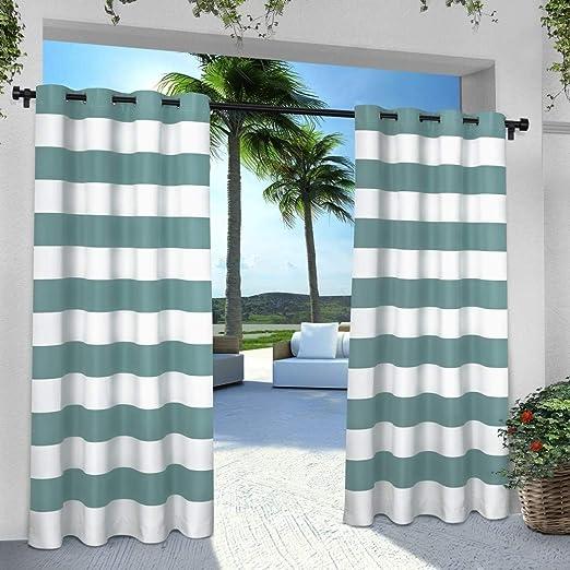 2 piezas 84 cm al aire libre azul color Gazebo cortina, color ...
