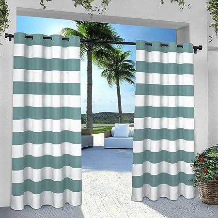 2 piezas 96 pulgadas al aire libre azul color Gazebo cortina, color azul oscuro rayas patrón