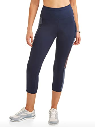 b82cc1aaf6967 Amazon.com: Avia Women's High Rise Colorblock Premium Flex Tech Compression  Legging Capri Pants (Blue Cove, Large L, 12-14, 28W x 22L): Clothing