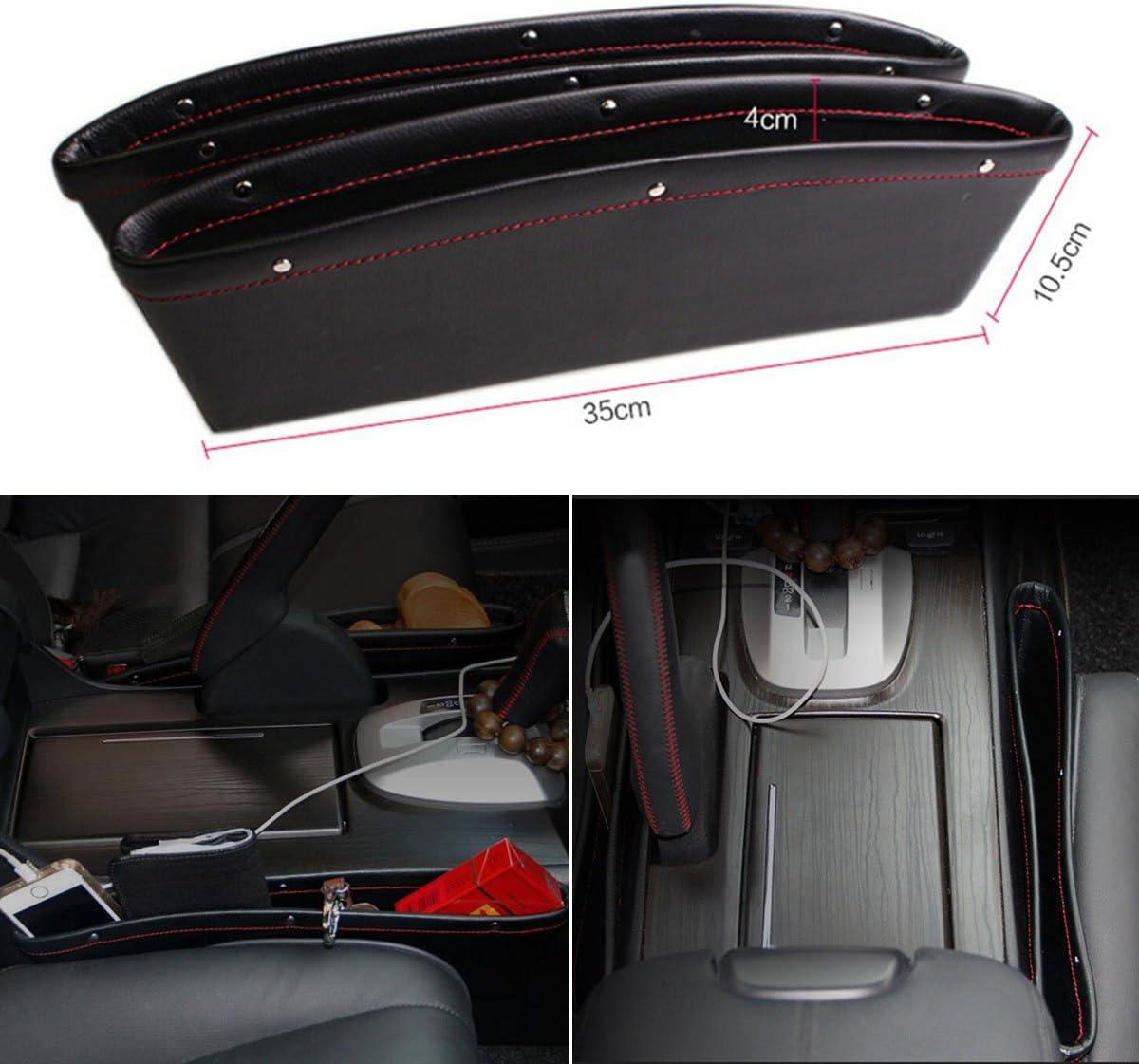 Vosarea 2 ST/ÜCKE Autositz Seitentasche Gap Pocket Box aus PU Leder f/ür Auto Konsole Schwarz