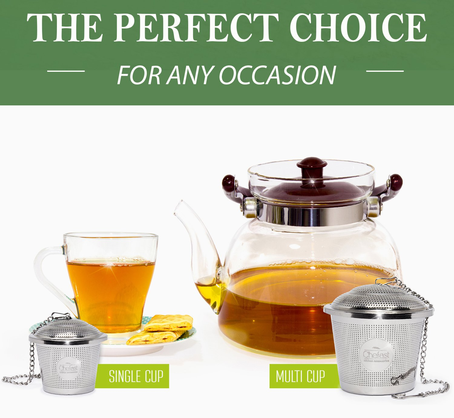 Tea Infuser Set by Chefast (2+1 Pack) - Combo Kit of 1 Large and 2 Single Cup Loose Leaf Infusers, Plus Metal Scoop with Clip - Reusable Stainless Steel Strainers | Diffusers | Balls | Steepers by Chefast (Image #4)