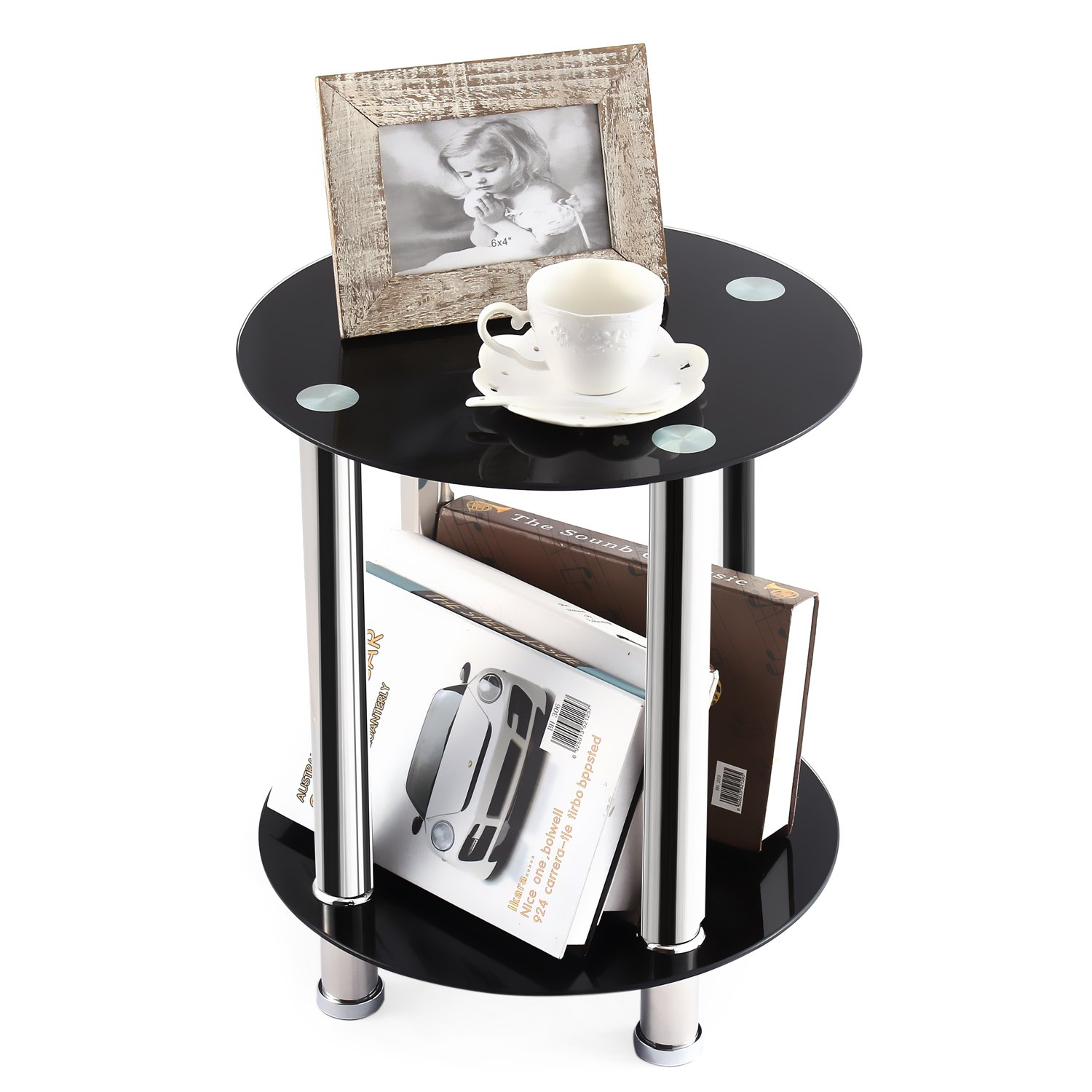 TAVR End Table,Sofa Table,Night Table,Coffee Table,with Safty Tempered Glass Shelves Round ET1001 TAVR Furniture RLET1001