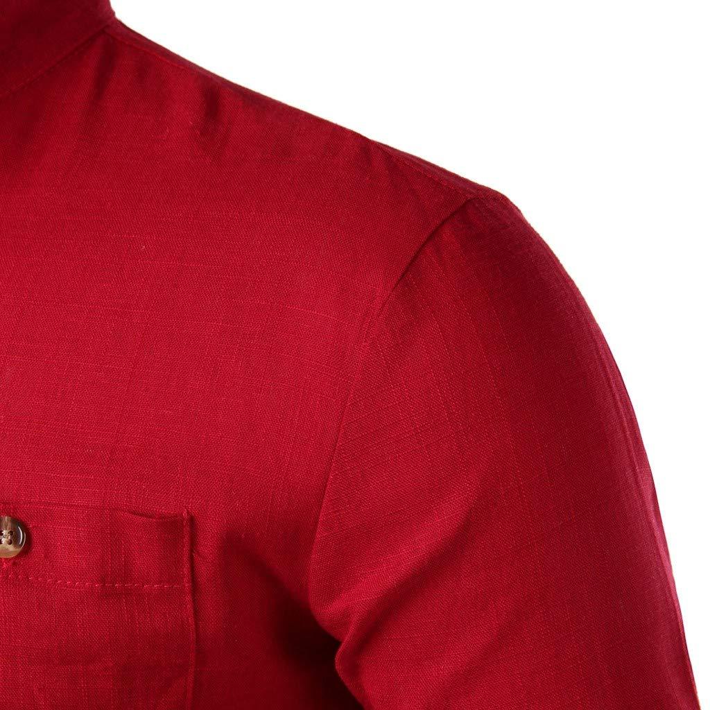 HCFKJ Camicia A Maniche Lunghe di Lino in Cotone Casual da Uomo alla Moda
