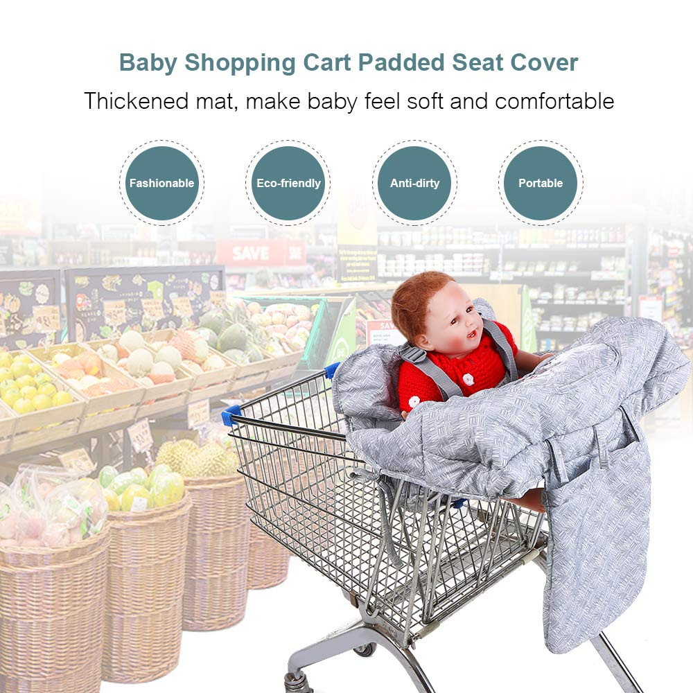 Kids Supermarket Shopping Cart Padded Seat Cover with Adjustable Safety Belt Anti-Dirty High Chair Shield Pad Includes Carry Bag for Baby Toddler Children