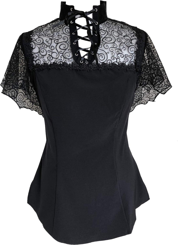 Gothic Rockabilly - Camisas - Liso - Cuello Mao - Manga Corta - para Mujer: Amazon.es: Ropa y accesorios