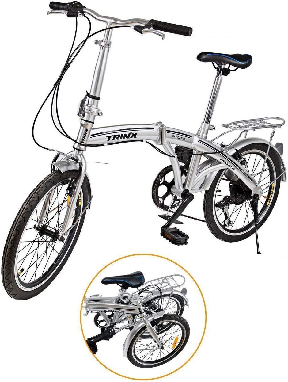 """Ridgeyard - Bicicleta de 20""""y 6velocidades color plata plegable regulable City Bike escuela deporte Shimano"""