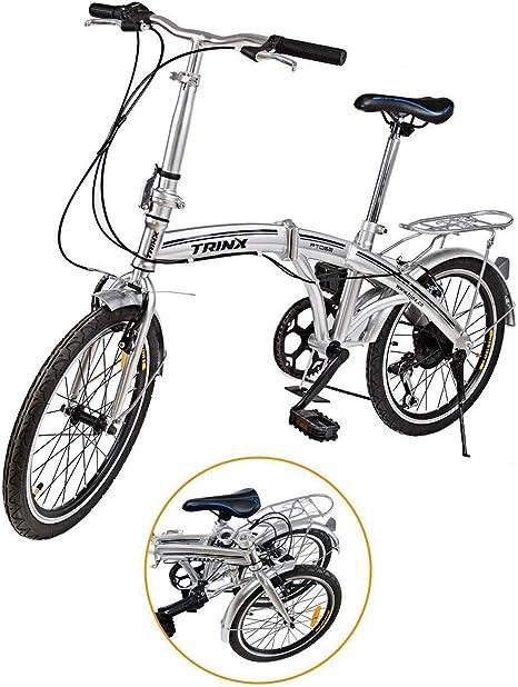"""Ridgeyard - Bicicleta de 20"""" y 6 velocidades color plata plegable regulable City Bike escuela deporte Shimano: Amazon.es: Deportes y aire libre"""