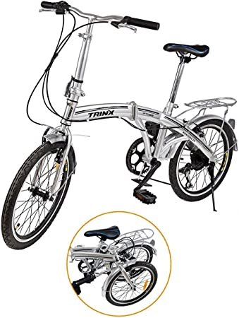 """Ridgeyard - Bicicleta de 20"""" y 6 velocidades color plata plegable regulable City Bike escuela deporte Shimano"""