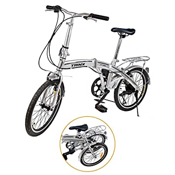 "Ridgeyard - Bicicleta de 20"" y 6 velocidades color plata plegable regulable City Bike escuela"