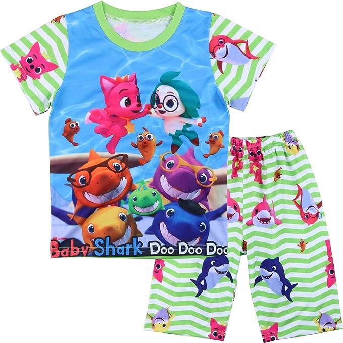 Kids Boy Girls Baby Shark Short Pyjamas 18-24 Mths 2-3 Years 3-4 Years 4-5 Years