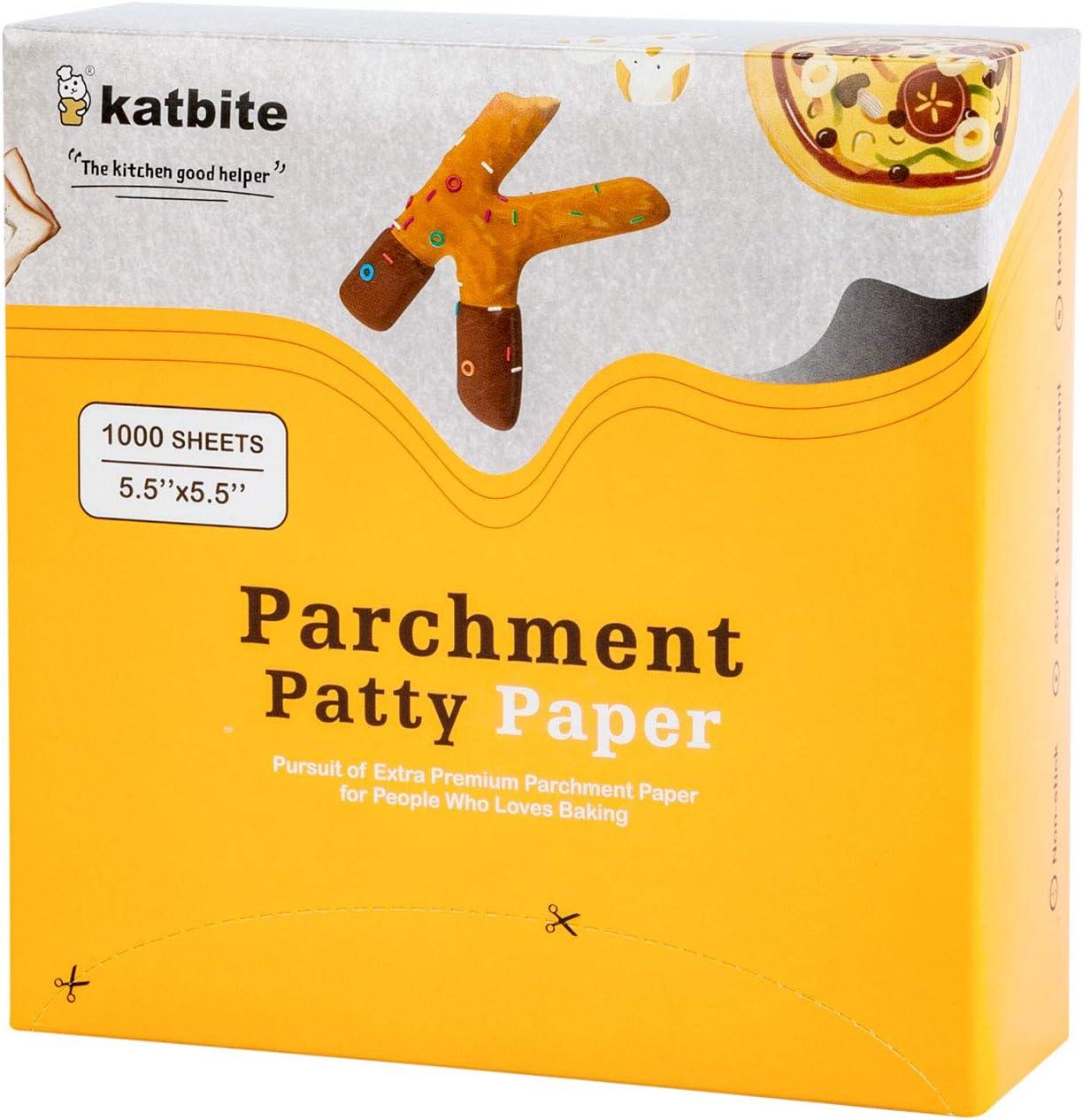 "Katbite Hamburger Patty Paper 1000 Pcs, 5.5""x5.5"" Non Stick Parchment Paper Square"