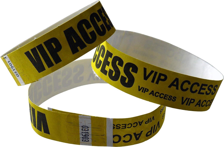100 x Tyvek-Kontrollb/änder gelb schwarz bedruckt VIP ACCESS