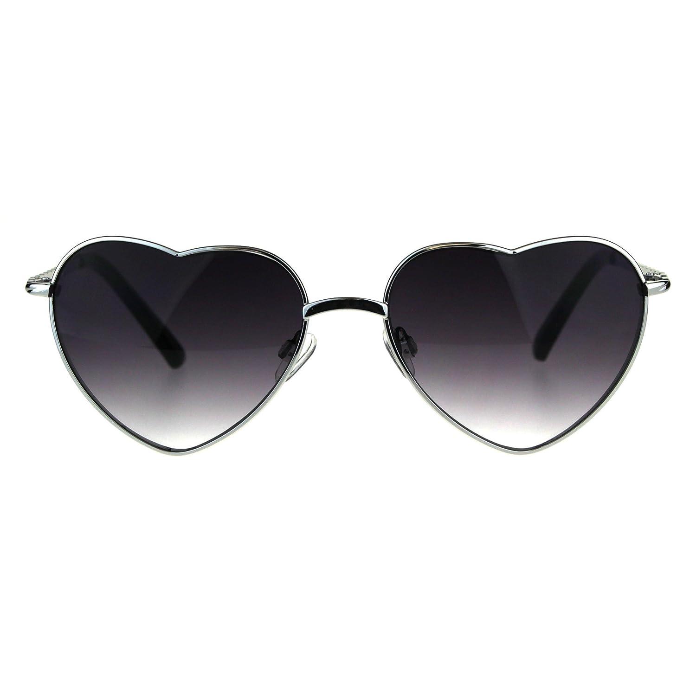 eab1854022 Amazon.com  Womens Heart Shape Chain Arm Metal Rim 70s Sunglasses Gold  Brown  Clothing