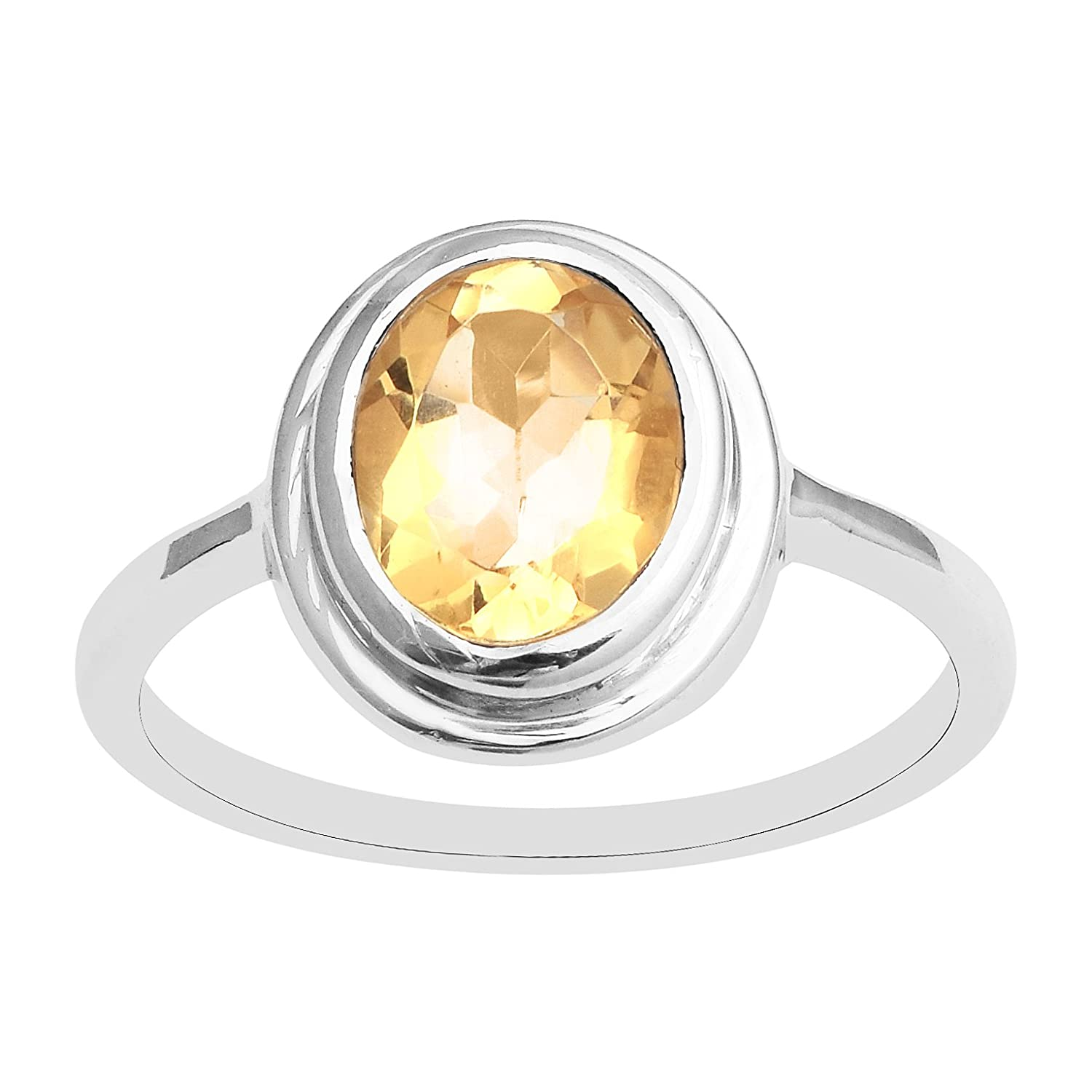 Set of 5 PC Citrine Jewelry Set Pendant Ring Earring Chain 925 Silver Wedding Ring Size-7