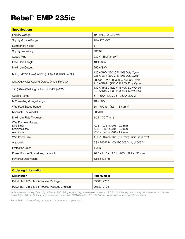 ESAB Rebel EMP 235ic MIG/Stick/Tig Welding Machine w/ Foot Control ...