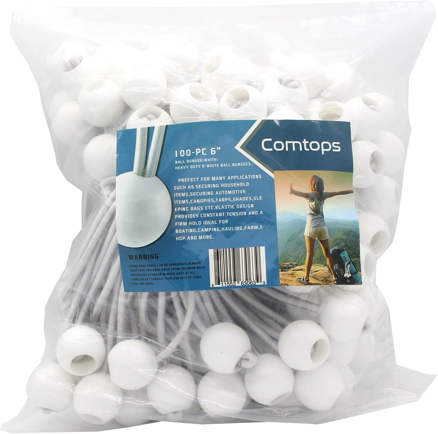 "Comtops Heavy Duty 6"" 100 PC Ball Bungee Canopy Tarp Tie Down Cord White Color Bonus 6 PK Mini Bungee Cord - -"