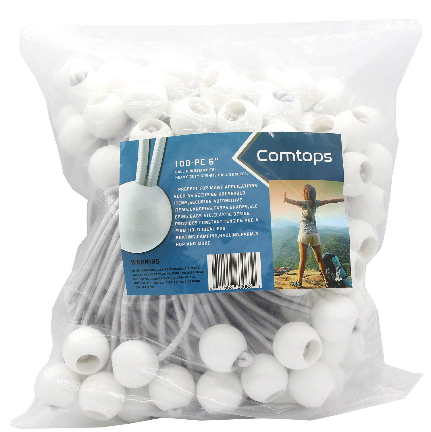 Comtops Heavy duty 6'' 100 PC Ball Bungee Canopy Tarp Tie Down Cord White Color Bonus 6 PK Mini Bungee Cord by Comtops