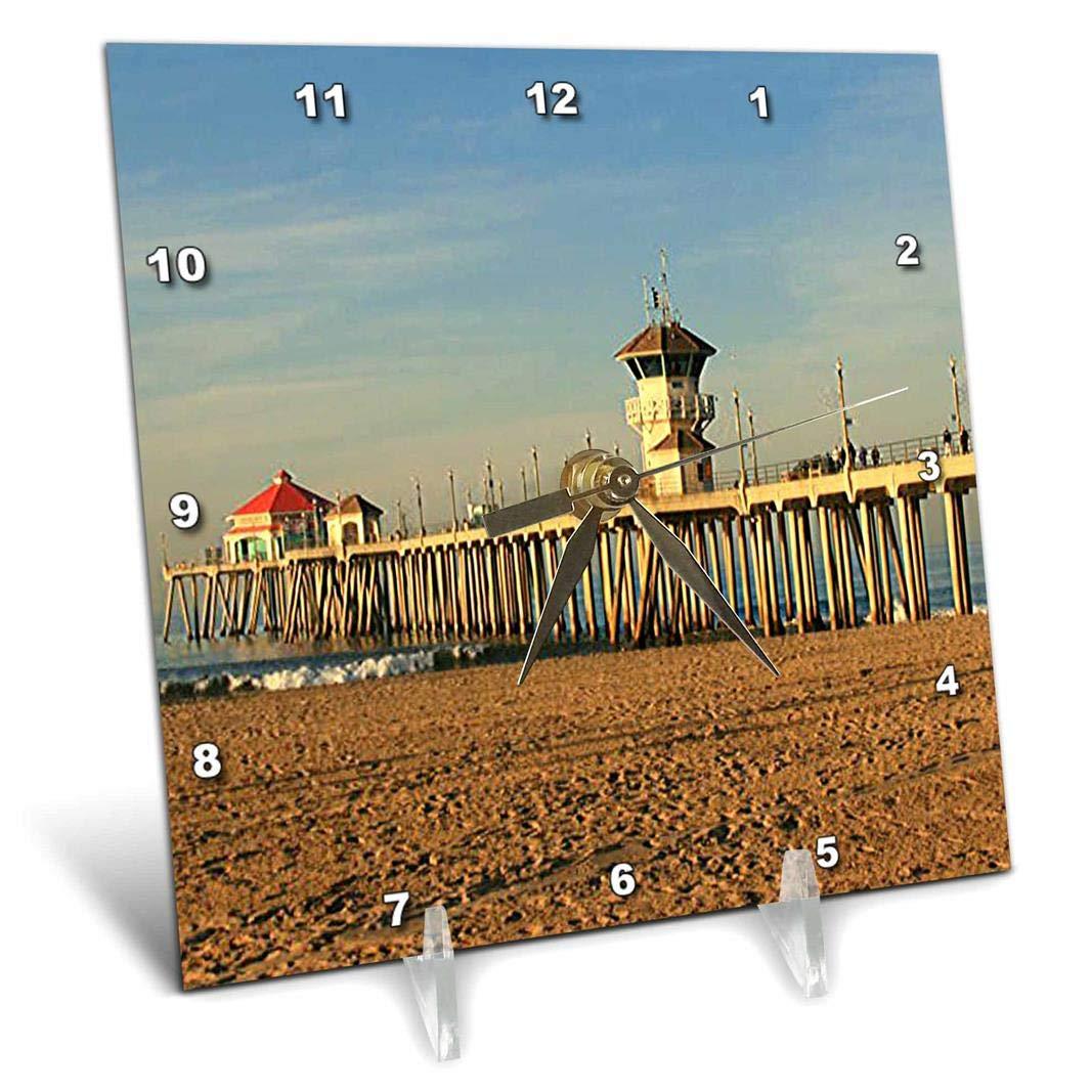 3dRose dc/_26245/_1 Huntington Beach Pier-Desk Clock 6 by 6-Inch