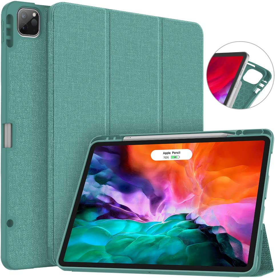 Soke New iPad Pro 12.9 Case 2020 & 2018 with Pencil Holder - [Full Body Protection + Apple Pencil Charging + Auto Wake/Sleep], Soft TPU Back Cover for 2020 iPad Pro 12.9(Lake Blue)