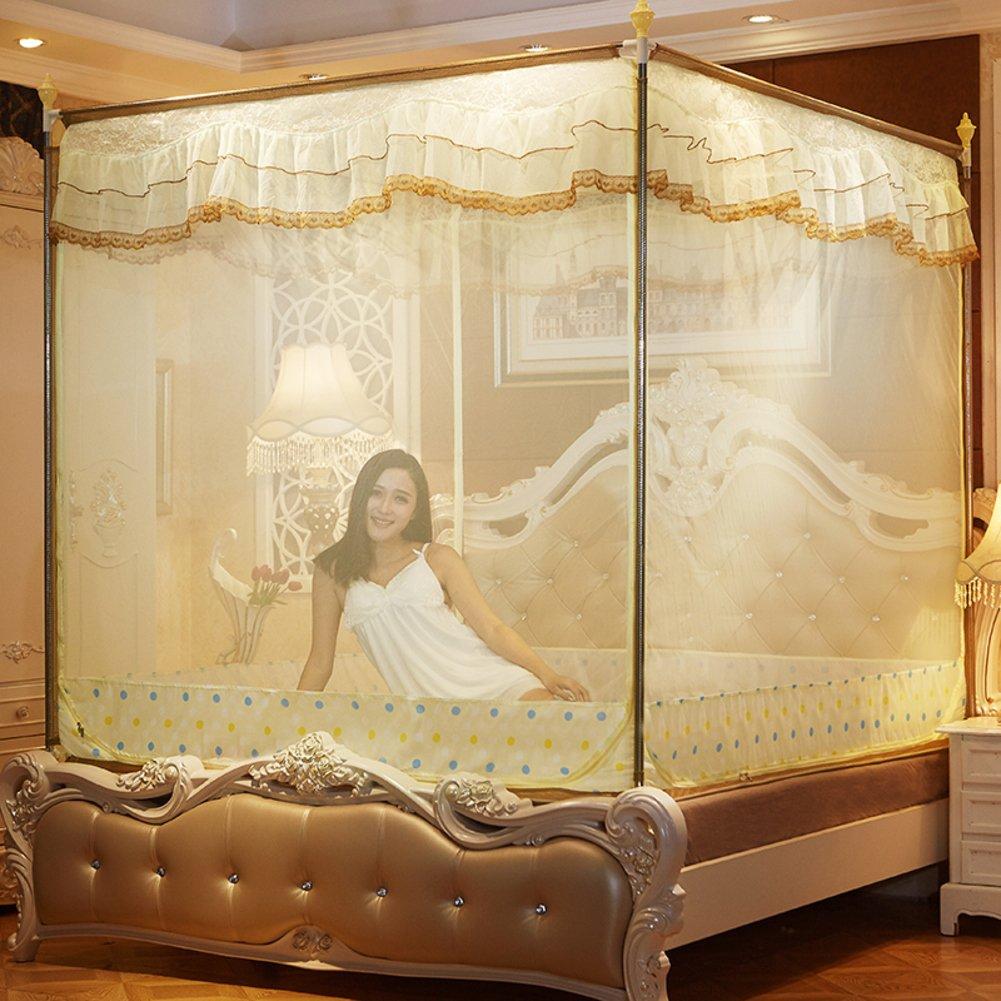 Princess mesh four corner mosquito net bed canopy, Zip Three-door Sit bed Yurt Home Double mosquito curtain-yellow Queen1