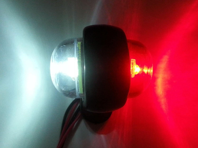 flexzon 6X Red White Corner Side Marker LED Lights Outline Lamp Truck Trailer Van Bus 12V