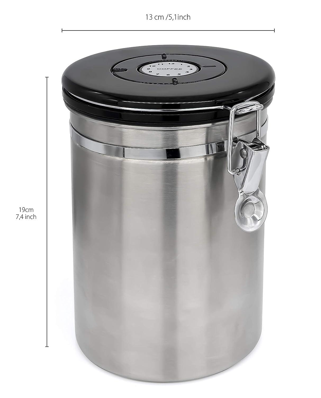 Aromadose f/ür Kaffee Bohnen//Pulver Vorratsdose Beh/älter mit Dosierl/öffel /& Datumsanzeige Grannys Kitchen Edelstahl Kaffeedose Luftdicht ca 500g