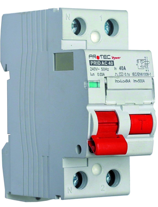 Interrupteurs Différentiels PROTEC 40A – Interrupteurs automatiques à courant différentiel résiduel sans dispositif de protection contre les surintensités incorporé – Type AC – Courant 40A