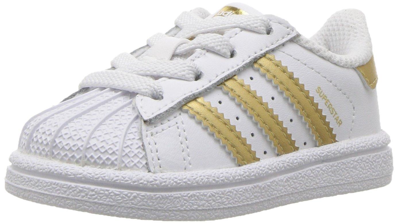 1e47e1f4b47 adidas Originals Baby Superstar I White/Gold Metallic/Blue 4 M US Infant:  Amazon.in: Baby