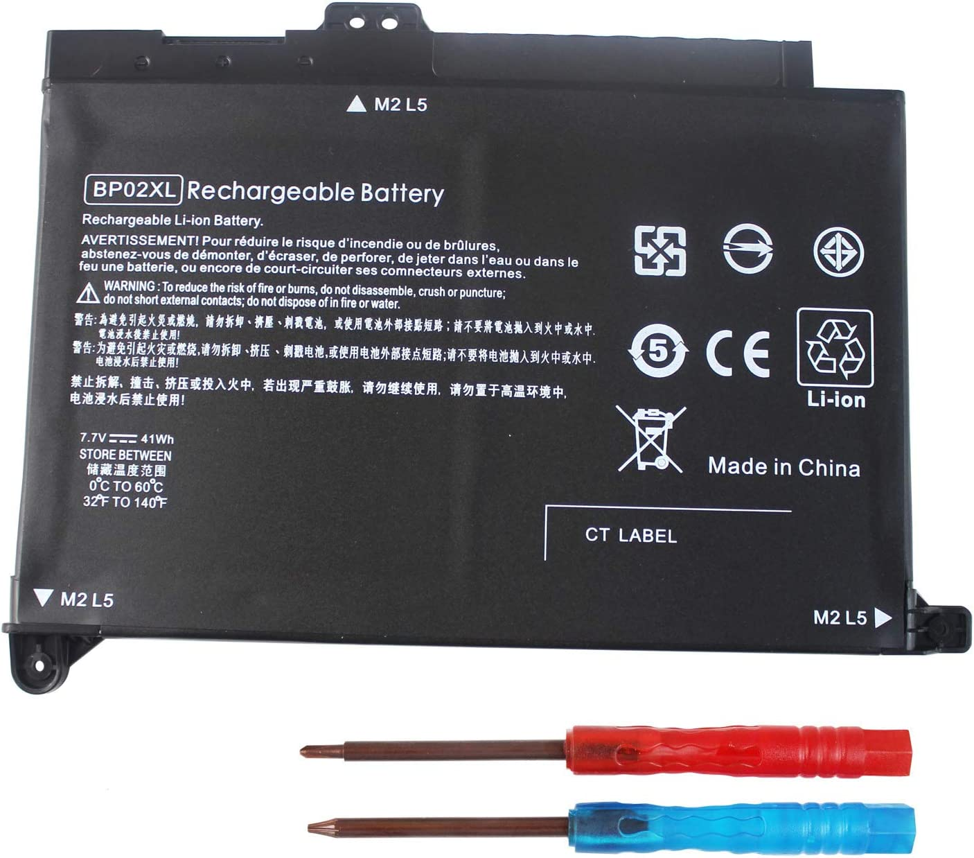 Gomarty BP02XL Laptop Battery Compatible for HP Pavilion PC 15 15-AU000 15-AU010WM 15-AU018WM Series HSTNN-UB7B HSTNN-LB7H 2ICP7/65/80 849569-542 TPN-Q172 7.7V 42WH