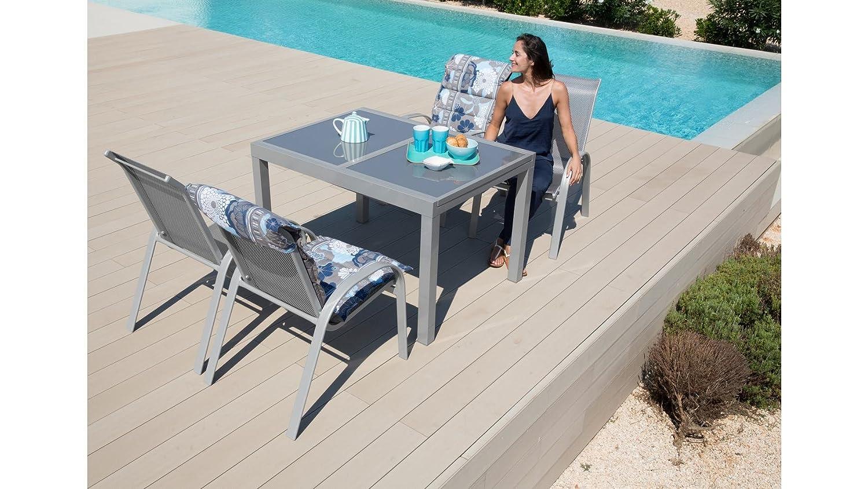 baumarkt direkt Gartenmöbelset Amalfi, 5-tgl., 4 Sessel, Tisch 120-180 cm, Alu/Textil diamantfarben