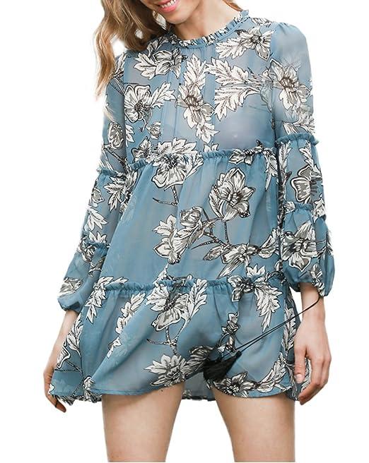 3952d2631e Vestidos Mujer Cortos Elegantes Primavera Vestido Verano Manga Larga Cuello  Redondo Vestido Playa Mini Vestido Flores Moda Joven Anchos Vestido Mujer  Fiesta ...