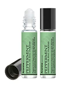Peppermint Essential Oil Roll On, Pre-Diluted 10ml (Pack of 2)